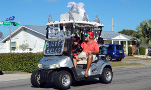 SILVER BELLS decorated E-Z-GO golf cart in Sun City Center Holiday Golf Cart Parade 2013
