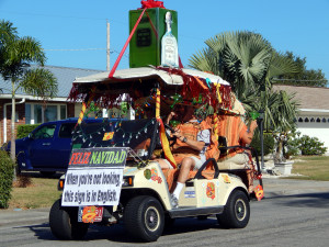 SILVER PATRON TEQUILA golf cart in Sun City Center Holiday Golf Cart Parade 2013