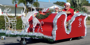 SLEIGH and Reindeer golf cart in Sun City Center Holiday Golf Cart Parade 2013