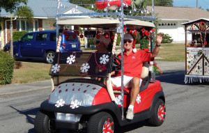 SNOWFLAKE Covered golf cart in Sun City Center Holiday Golf Cart Parade 2013