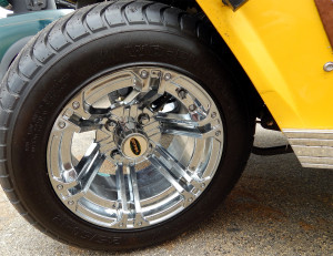 SS Chrome Wheels on Green Bay Packers STARev 48V-SS Limited customized golf cart in Sun City Center FL