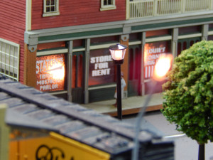 STORE FRONTS with lights at Sun CIty Center Model Railroad Club