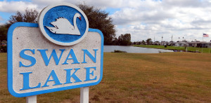 SWAN LAKE sign at Sun City Center Community Association Central Campus (SCC CA) Pebble Beach Blvd and Cherry Hills Drive
