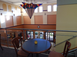 Second floor view of the South Club front entrance