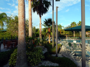 Sections of the pool at the South Club House in the Kings Point neighborhood of Sun City Center, Florida