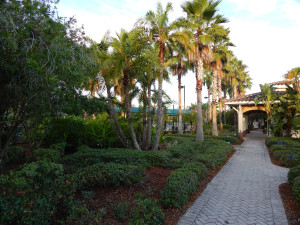Sidewalk leading the pool on the left and Pickleball courts on the right at the South Club House in the Kings Point