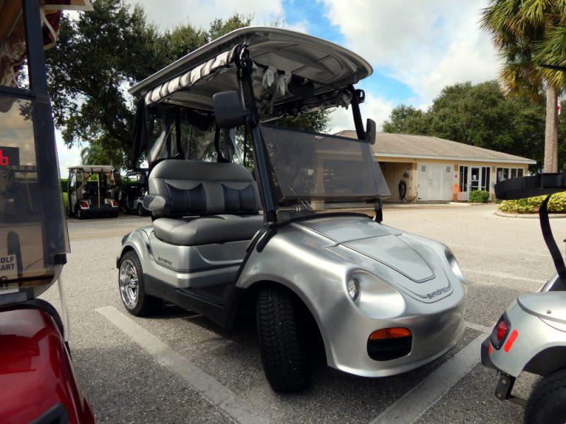 Silver Porche SuperSport Yamaha golf cart at Falcon Crest Golf Club on cyclone golf cart, rc golf cart, roadster golf cart, baja golf cart, toro golf cart, hornet golf cart, bombardier golf cart, batman golf cart, gamecock golf cart, rat rod golf cart, bronco golf cart, rocket golf cart, f-22 golf cart, trike golf cart, flamingo golf cart, villager golf cart, solorider golf cart, mustang gt golf cart, beast golf cart, raptor golf cart,