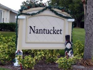 Snowman Christmas decoration on Nantucket entrance sign in Sun City Center, Florida