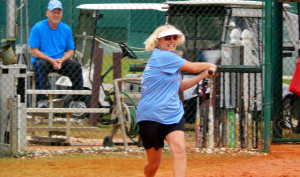 Clearwater teams, the Tighty Whites and the Out Of The Blue Team, playing the last game in the LADIES ONE PITCH 2013 Softball Tournament on November 2, on Don Senk Field in Sun City Center