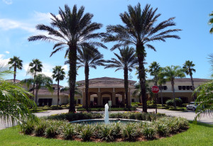 South Club House driveway with fountain in Kings Point, Sun City Center, FL