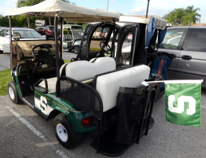 Spartan Flag on Michigan State themed E-Z-GO golf cart