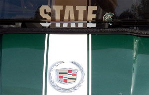 Spartan Helmet sticker on Michigan State themed E-Z-GO golf cart