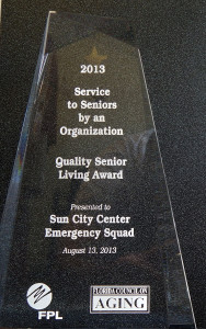 Sun City Center Emergency Squad awarded the Quality Senior Living Award for Service to Seniors by an Organization 2013 presented by The Florida Council on Aging in Orlando