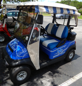 UK Kentucky Wildcats Club Car golf cart (left view) at club house in Sun City Center, FL