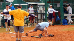 Umpire calling safe at Ladies One Pitch Softball Tournament 2013, Sun City Center