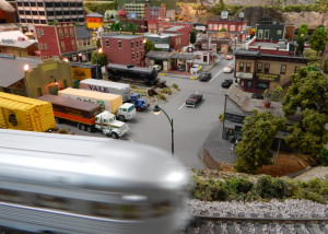 WOODVILLE MINI CITY with Yellow Cab and gas station at Sun CIty Center Model Railroad Club