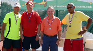 Winner 65 plus Men's Doubles Pickleball at 2013 Tampa Bay Games, Sun City Center, Fl: 1st Raymond-VanVoorhies, 2nd Chrichlow-Johnson, 3rd Fagerburg-Benkoski [DAY ONE: Friday, October 25, 2013]