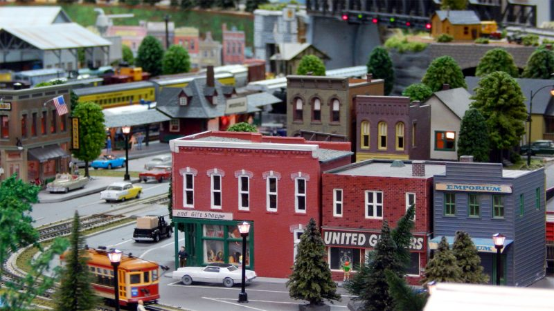 Woodvile miniature HO train city at Sun City Center Model Railroad Club