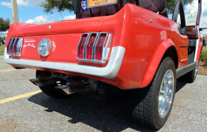 back corner view of 1965 Mustang Club Car golf cart in Sun City Center, FL