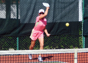 serving in Womens Pickleball Tournament Tampa Bay Senior Games 2013 Sun City Center