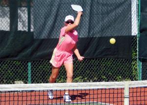 serving in Womens Pickleball Tournament Tampa Bay Senior Games 2013 Sun City Center