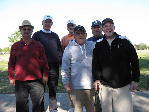 Back Row L to R: Doug Banning, Dan Stephens, Vic Scodese, Front Row L to R: Bob Jacobs, Tom Rosata, Doc Lamiano | Hogans Golf Club Of Sun City Center and Kings Point [submitted by Pam Jones]