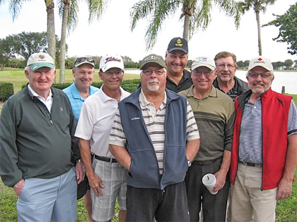 Back Row L to R: Frank O'Brien, Syl Amos, and Rex Gibbons, Front Row L to R: Jack Phillips, Joe Danielson, Bill Konopasek, Jerry Stemas, Norm Taylor | Hogans Golf Club Of Sun City Center and Kings Point [photo submitted by Pam Jones]