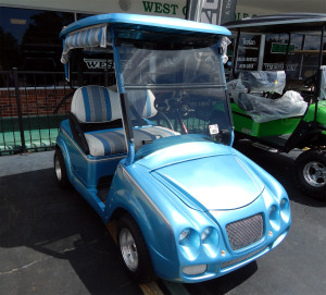 Customized golf cart at West Coast Golf Cars, Sun City Center, Fl [staff photo]