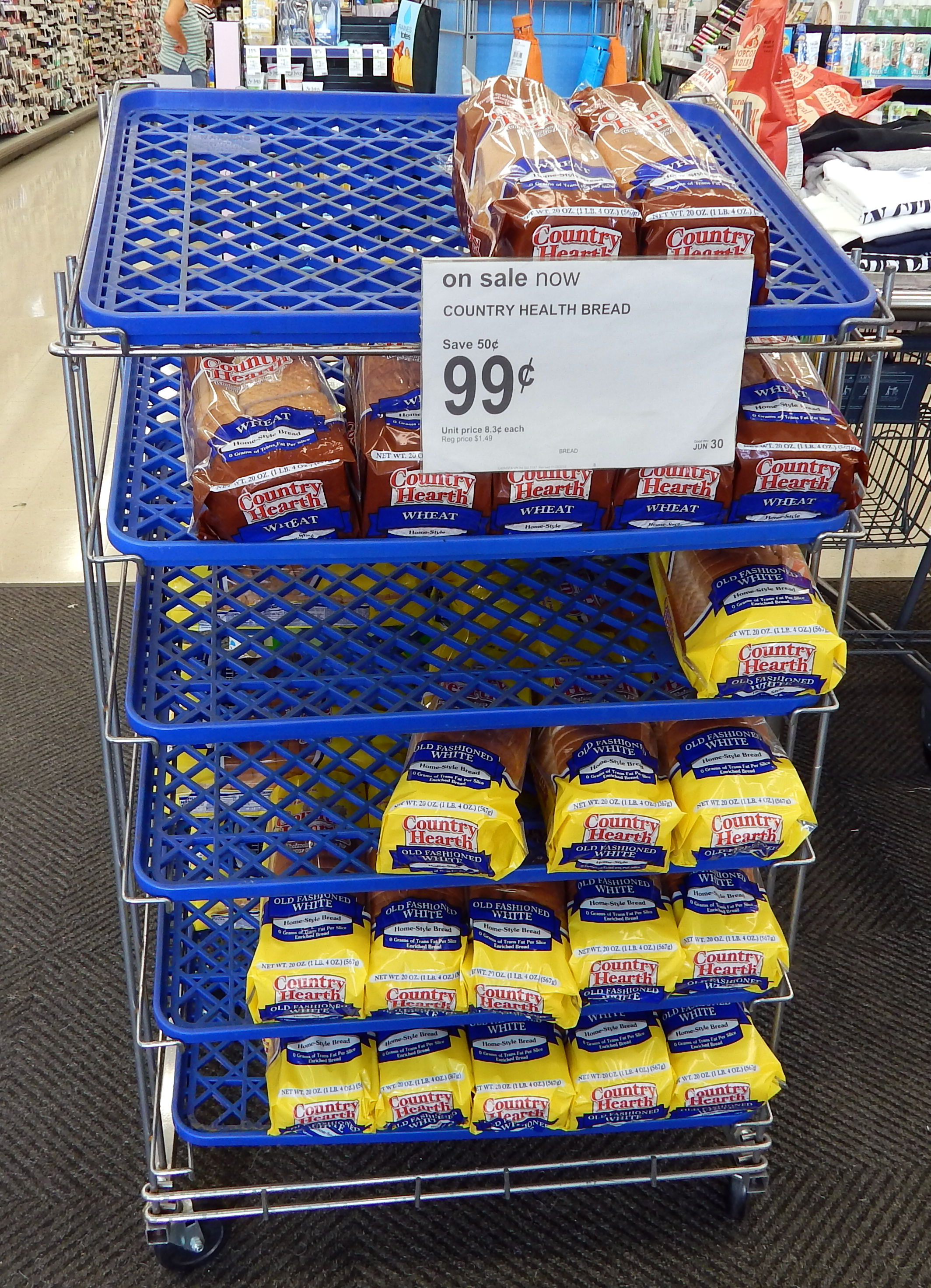 Country Hearth White Bread always 99 cents at Walgreens, Sun City Center, Florida [staff photo]