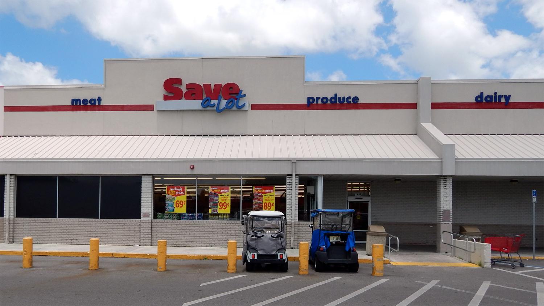 Golf Cart Parking at Save a Lot in Sun CIty Center, Florida [credit staff]