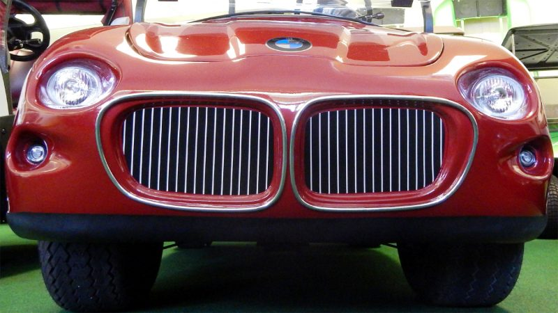 Grille of BMW Club Car golf cart at West Coast Golf Cars, SCC, FL [staff photo]
