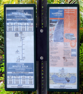 HART Bus Schedual signs under the Portico at Kings Point Main Clubhouse, Sun City Center, FL [staff photo]