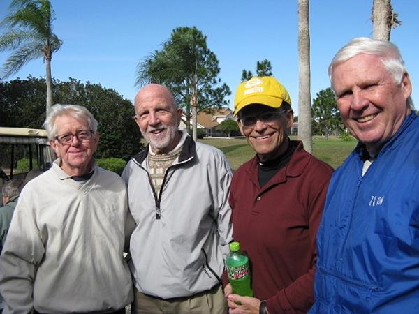 L to R: Hank Smythe, Ray Curry, Joe Danielson, and Walt Weldon [credit Pam Jones from Hogans Golf Club of Sun City Center & Kings Point]