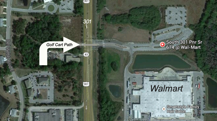 Sun City Center Golf Cart Path to Walmart Arial View [credit Google Maps]