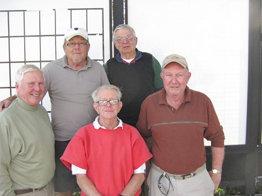 Back Row L to R: Tom Rosata and Erwin Karl Front Row L to R: Walt Weldon, Hank Smythe, and Jim Cox \ Hogans Golf Club Of Sun City Center and Kings Point [photo submitted by Pam Jones]