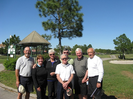 Back Row L to R  Jim Sari, Walt Weldon, and Hannes Broschek, Front Row L to R  Bill Lloyd, Colleen Caplette, Emmy Broschek, and Hank Smythe | Hogans Golf Club of Sun City Center and Kings Point [Submitted by Pam Jones]