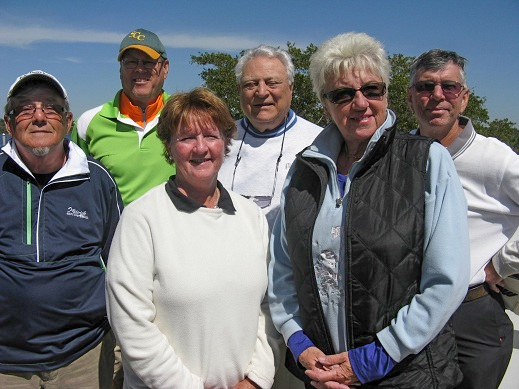 Back Row L to R John Colgren, Vic Scodese, and Jim Sari, Front Row L to R  Tom Rosata, Colleen Caplette, and Emmy Broschek Hogans Golf Club Sun City Center