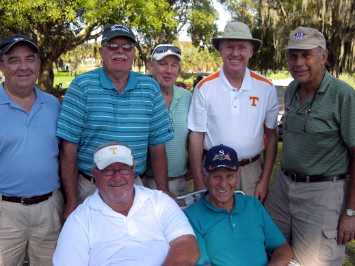 Back Row L to R Vic Szymanski, Mike Brock, Frank O'Brien, Steve Parks, and John Schachte, Front Row L to R  Ruben Jones and Rog Toussaint | Hogans Golf Club of Sun City Center & Kings Point [submitted by Pam Jones]