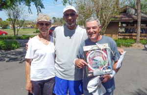 Kings Point Tennis Tournament 2014 1st place winners L to R Pat Rilling, Darrel Berry, Tal Keenen