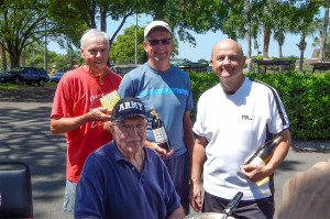 Kings Point Tennis Tournament 2014 Mens 3rd place winners L to R Bob Fieberg, Neil Wirts, Mick Hebel, in front Jack Hardy