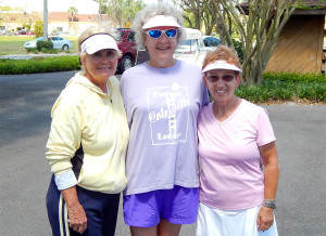Kings Point Tennis Tournament 2014 Women's L to R: 2nd Lynn Keenen, 3rd Lisa Ingraham and Mariette Morgan