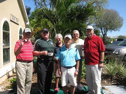 L to R Bob Hull, Charlie Brown, Hilde Karl, Re Bui, Erwin Karl, and Don Koester | Hogans Golf Club of Sun City Center and Kings Point [submitted by Pam Jones]