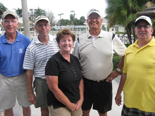 Left to Right: Art Alves, Jim Sari, Colleen Caplette, Alan Wright, and Joe DeFelice | Hogans Golf Club of Sun City Center [Submitted by Pam Jones]
