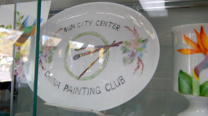 Plate that reads Sun City Center China Painters Club