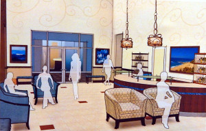 Salon waiting area (1st FL) layout for Kings Points 2020 Building, Sun City Center, FL
