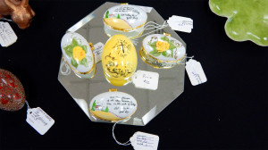 Small glass boxes, eggs at Sun City Center China Painters Club
