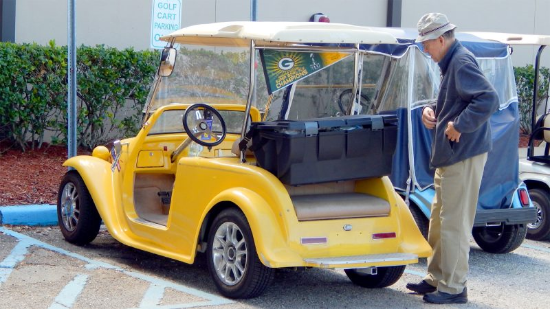 Ted standing by his Yellow California Roadster, Sun City Center, FL