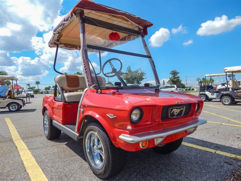 65 Red Ford Mustang Club Car Golf Cart