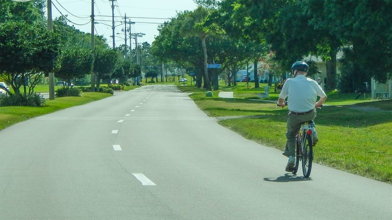 Bicyclist sharing road in Kings Point, Sun City Center, FL