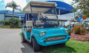 Blue 57 Chevy Bel Air Golf Cart, Sun City Center